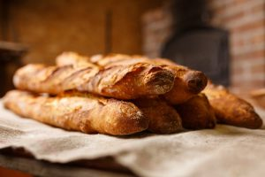 French baguettes on a white cloth